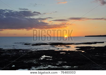 Sunset over Atlantic Ocean, Clahane Beach