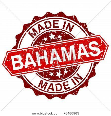 Made In Bahamas Red Stamp Isolated On White Background
