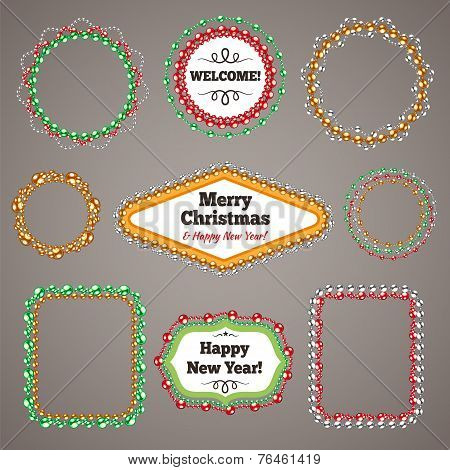 Christmas Beads Garlands Frames with a Copy Space Set