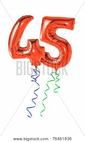 Red balloons with ribbon - Number 45