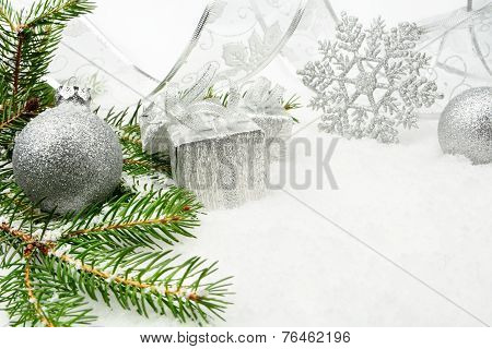 Silver Christmas Bauble,gifts,snowflake With Silver Ribbon And N