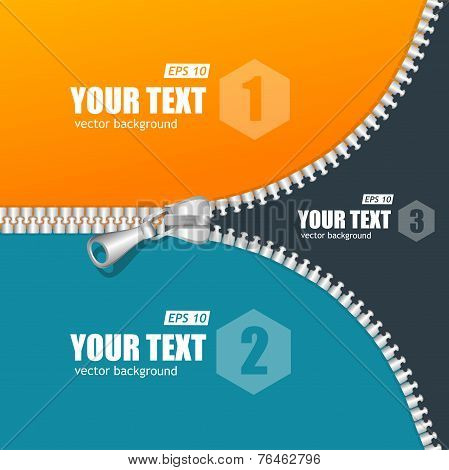 Vector realistic zippers banner 1 2 3 concept