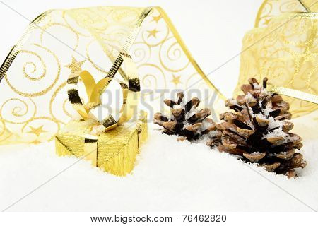 Golden Christmas Baubles,gifts,snowflake With Golden Ribbon On S