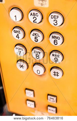 Yellow Public Pay Phone Keypad
