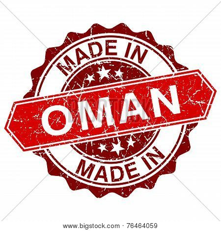 Made In Oman Red Stamp Isolated On White Background