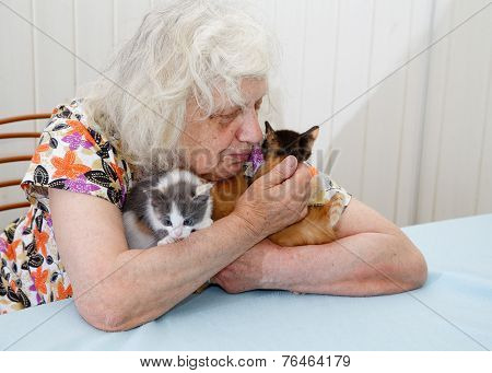 The Grandmother Holding Three  Kittens