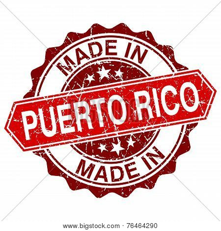 Made In Puerto Rico Red Stamp Isolated On White Background