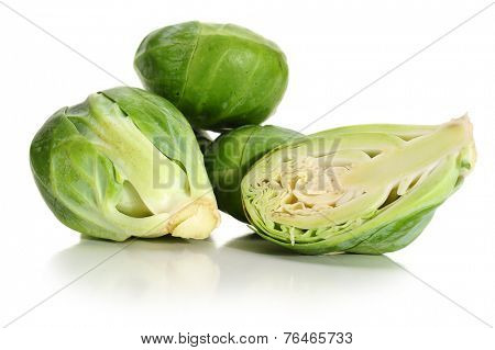 Close-up image of brussel sprouts studio isolated on white background