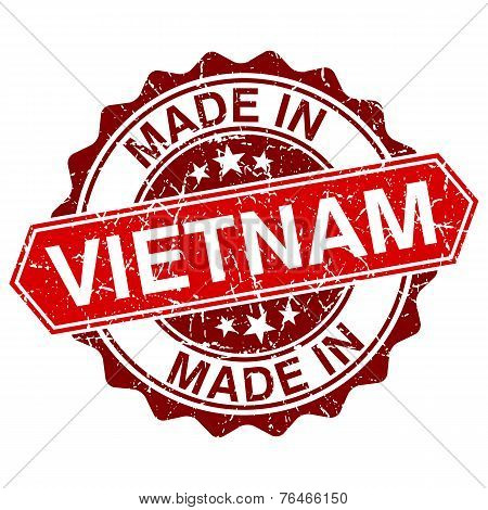 Made In Vietnam Red Stamp Isolated On White Background