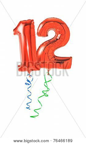 Red balloons with ribbon - Number 12