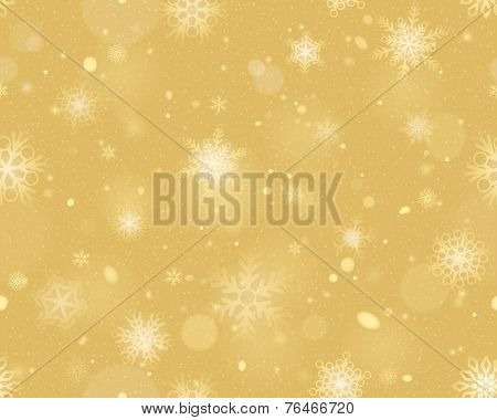 Snowflakes seamless background - Gold