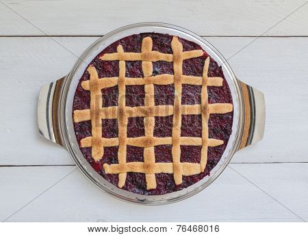 Lattice Cake With Forest Berries On Wooden Board