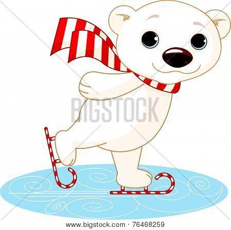 Illustration of cute polar bear on ice skates. Raster version.