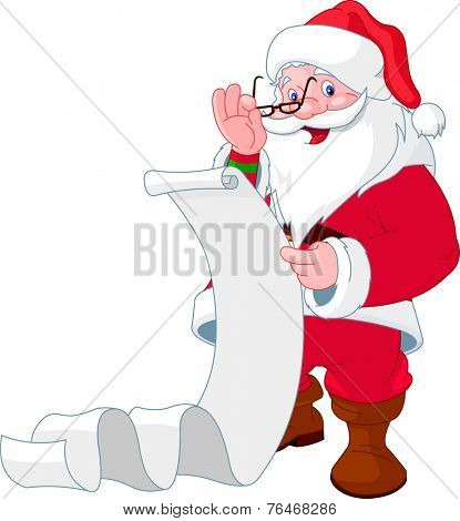 Santa Claus reading a long  list of gifts. Raster version.