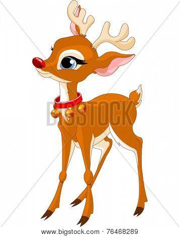Illustration of cute Christmas reindeer Rudolf. Raster version.