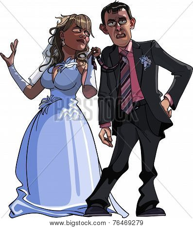 Caricature Cartoon Groom And Bride.eps