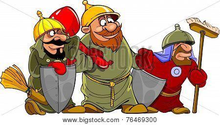 Cartoon Funny Warriors Bogatyrs.eps