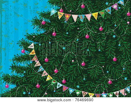Christmas tree with garland of colorful triangle flags with different pictures