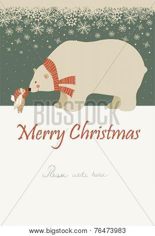 Little angel and polar bear celebrating Christmas