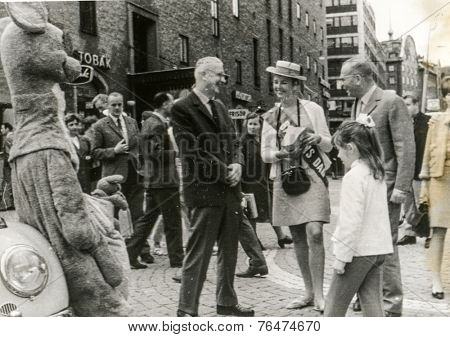 STOCKHOLM, SWEDEN, CIRCA 1966: Vintage photo of family with a little girl