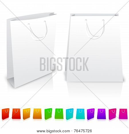 Set of isolated paper bags on white background. With different color variations.