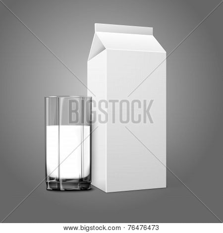 Realistic white blank paper package and glass for milk, juice, cocktail etc. Transparent glass.