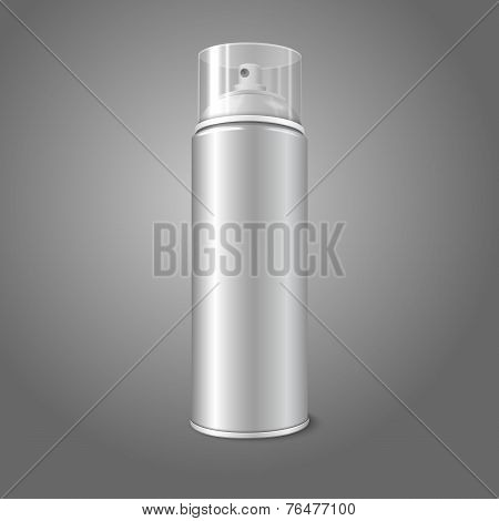 Blank vector aerosol spray metal 3D bottle can with transparent cap. For paint, graffiti, deodorant,