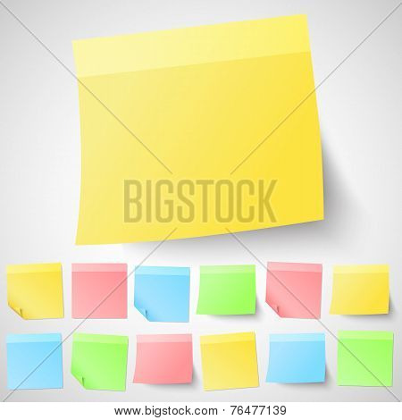 Set of isolated adhesive sticky notes. Different shapes and colors.