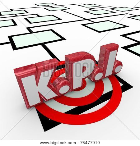 KPI abbreviation or acronym in red 3d letters on an organizaiton chart to symbolize worker, employee or staff key performance indicators, evaluation or review