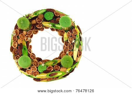 Christmas wreath with green candles