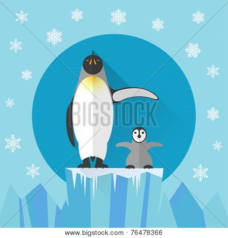 Penguin Flat Icon Antarctica