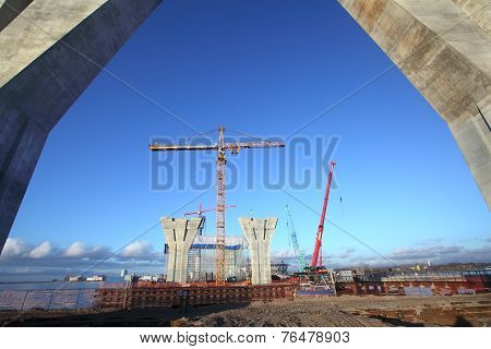 Construction Site Of A Highway And Bridge.