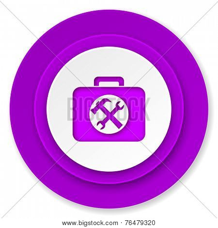 toolkit icon, violet button, service sign