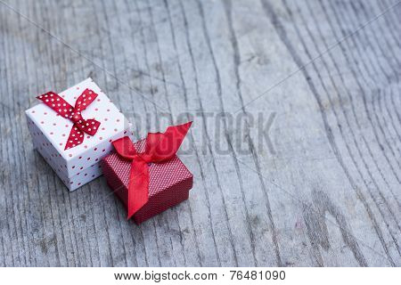 White Gift Box With Red Dots And Smaller Red Box