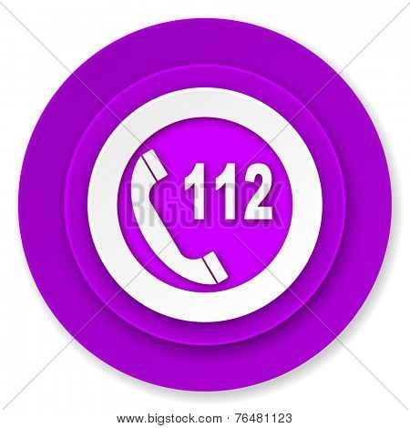 emergency call icon, violet button, 112 call sign