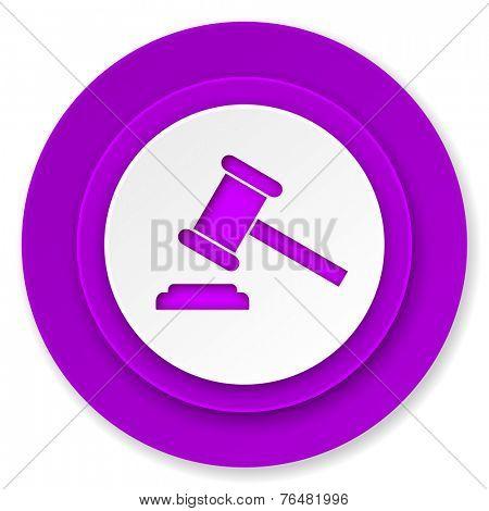 auction icon, violet button, court sign, verdict symbol