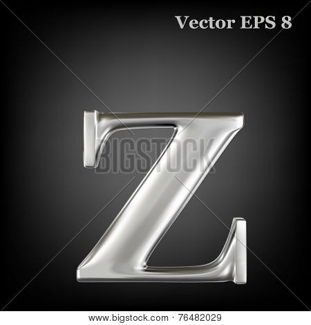 Metal alphabet lowercase vector symbol - z