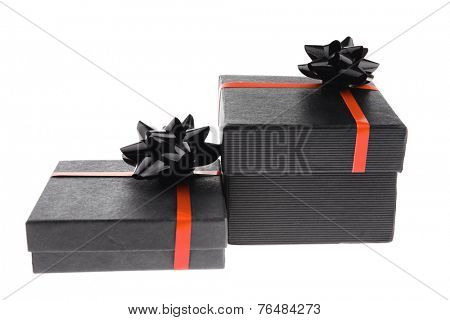 black box with red type isolated on white