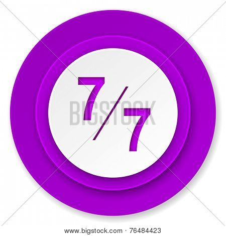 7 per 7 icon, violet button