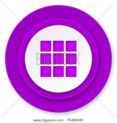 thumbnails grid icon, volet button, gallery sign