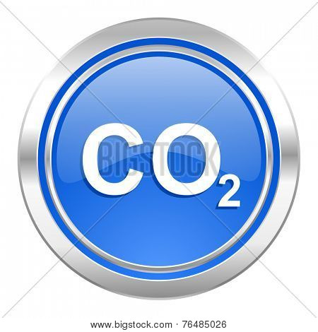 carbon dioxide icon, blue button, co2 sign