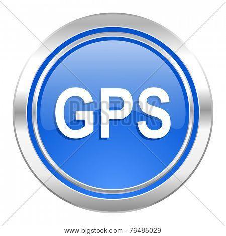 gps icon, blue button