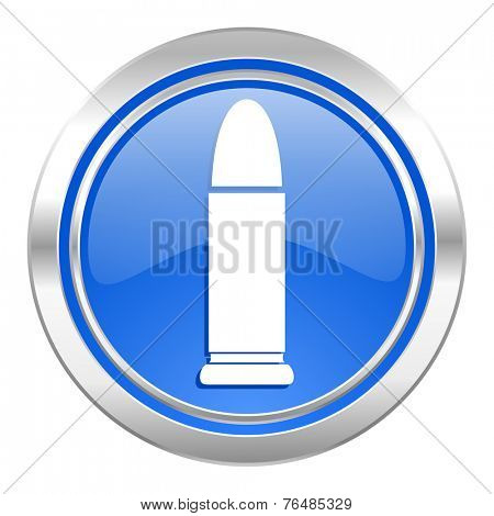 ammunition icon, blue button, weapoon sign