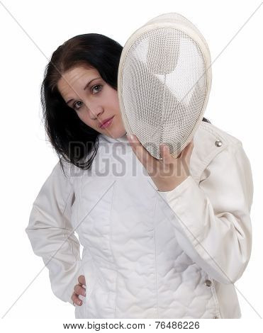 Woman Holding Fencing Mask Wearing Fencing Jacket