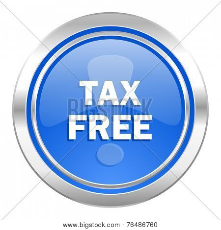 tax free icon, blue button