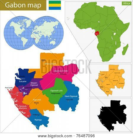 Gabon map with high detail and accuracy and it is divided into provinces which are colored with different bright colors