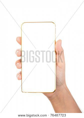 Female hand holding gold mobile phone smartphone mockups with blank screen isolated on white background