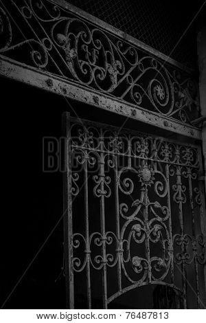 Old Iron Gate Detail In Black And White