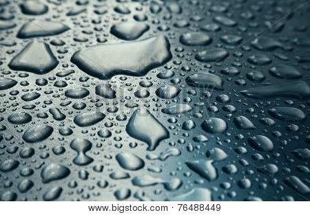 Raindrops on stainless steel background texture