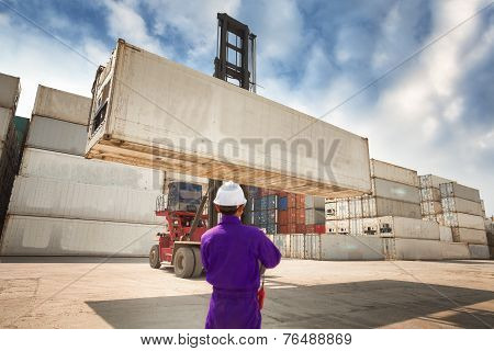 Foreman Control Forklift Handling The Container Box